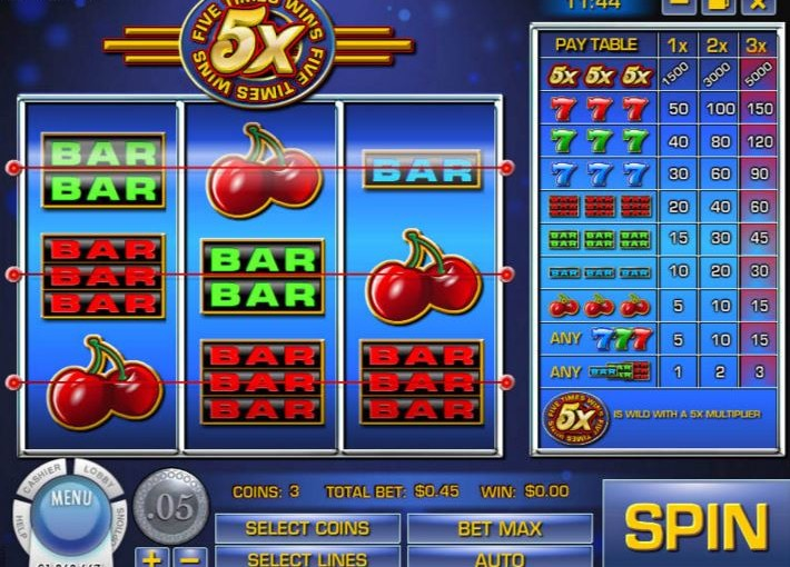 Play 5 Times Wins Video Slot Online For Free