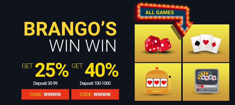 No Max Cashout Match Bonus Today At Casino Brango Rtg Streak