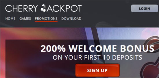 Welcome Bonus at Cherry Jackpot Casino