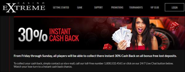 Cash Back At Casino Extreme!