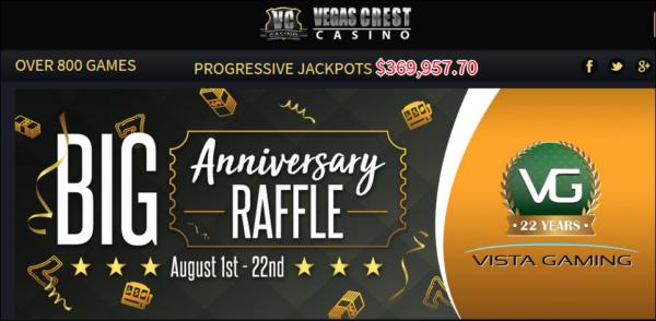 Vegas Crest Casino's Anniversary Raffle.