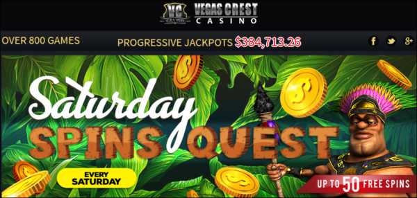Saturday Free Spins Quest At Vegas Crest Online Casino!